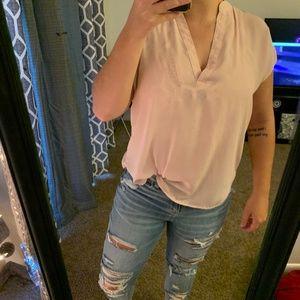 Light Pink V-Neck Blouse